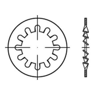 6797 Fächerscheibe Stahl 1.4310 Form I 4,3mm rostfrei