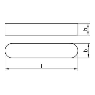 DIN 6885 Form A Passfeder, Stahl, blank