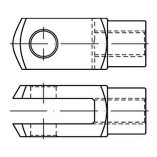 DIN 71752 Gabelgelenke 2 Stahl G 10 x 20 galvanisch verzinkt gal Zn S