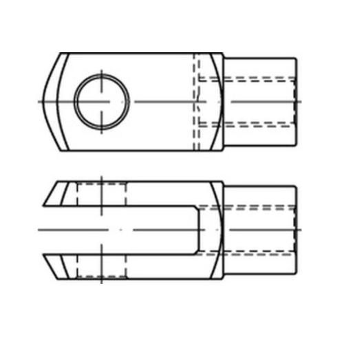 DIN 71752 Gabelgelenke 2 Stahl G 16 x 64 galvanisch verzinkt gal Zn S