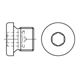 DIN 908 Verschlussschraube Feingewinde VG M14x1,5 Stahl 5.8 blank Innensechskant m. Bund