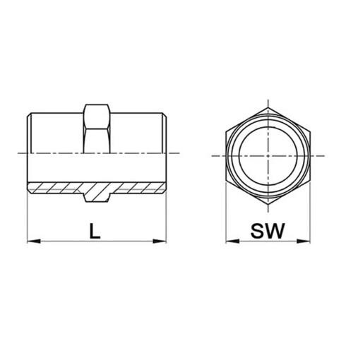 Doppelnippel NPS=1 1/2 Zoll 8-kant L 49,5mm SPRINGER