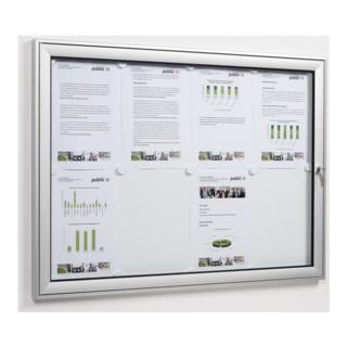Drehtürschaukasten 8xDIN A4 B930xH680xT30mm ESG-Glasdrehtür Ecken abgerundet