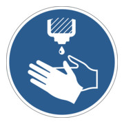 Durable Gebotsaufkleber Hände desinfizieren, ablösbar