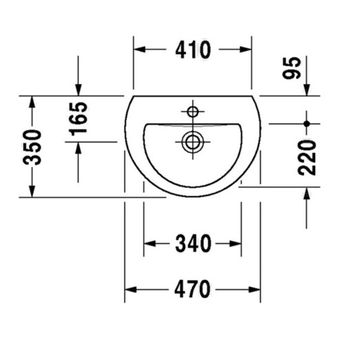 Duravit Handwaschbecken DARLING NEW mit Überlauf, Hahnlochbank, 470 x 345 mm, 1 Hahnloch weiß