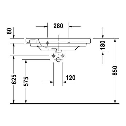 Duravit Möbelwaschtisch D-CODE mit Überlauf, Hahnlochbank, 850 x 480 mm weiß 1 Hahnloch