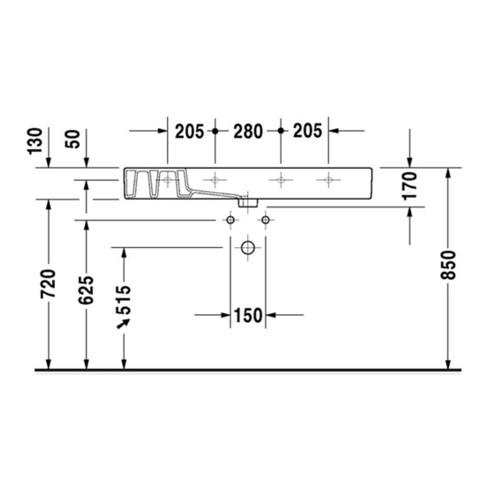 Duravit Möbelwaschtisch VERO mit Überlauf, Hahnlochbank, 1050 x 490 mm 1 Hahnloch weiß