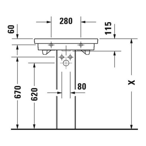 Duravit Waschtisch 2ND FLOOR mit Überlauf, Hahnlochbank, 600 x 430 mm 1 Hahnloch Innenbecken weiß