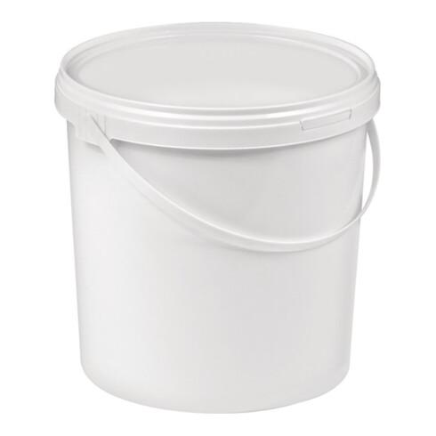 Eimer 10l Kunststoff,lebensmittelecht weiß Bügelgriff Stülpdeckel D.267mm H250mm