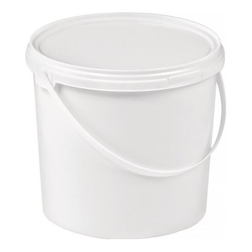 Eimer 5l Kunststoff,lebensmittelecht weiß Bügelgriff Stülpdeckel D.188mm H.214mm