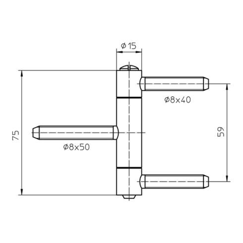 Einbohrband BAKA C 1-15 WF 2-tlg. topzink 60kg DIN L/R Holztüren