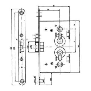 Einsteckschloss PZW 65/72/8 Stulp verz. 20x235 abgr.