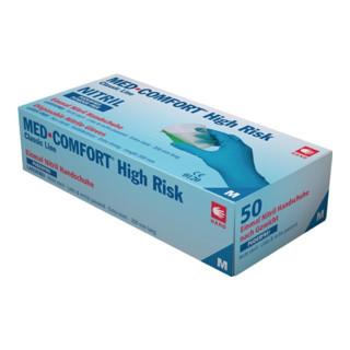 Einweghandschuhe MED COMFORT High Risk Gr.L blau Nitril EN 388,EN 374 Kat.III