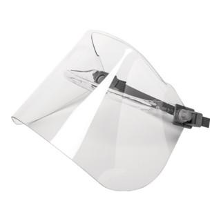 Elektrikerschutzschild glasklar,m.Helmhalterung 460x200mm