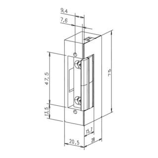 Elektro-Türöffner 17 E KL 6-12 V AC/DC Stand.staubgrau DIN L/R m.FaFix