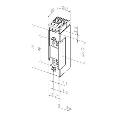 Elektro-Türöffner 1705 RR 12 V DC 100%ED Dauerent. nein DIN L/R ASSA ABLOY