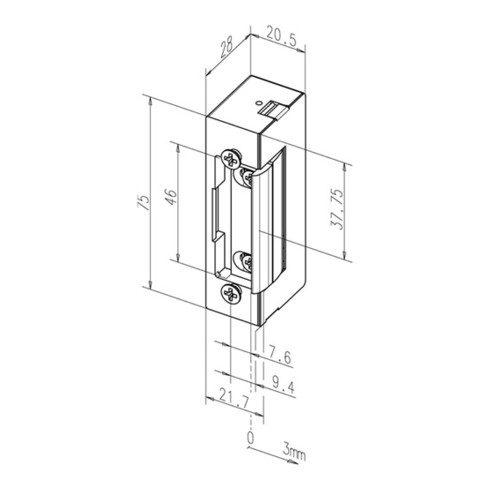 Elektro-Türöffner 27 E 24 V DC 100%ED verstärkte Fallenfeder DIN L/R m.FaFix