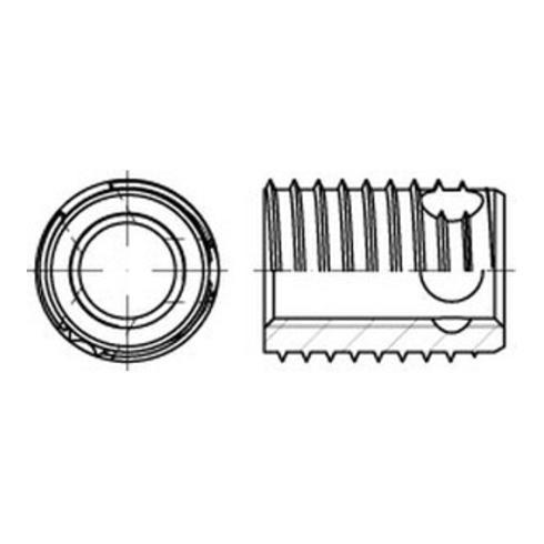 ENSAT-Gewindeeinsätze Stahl gehärtet M 4 gal ZnC, m. Bohrung, Typ 307 gal ZnC S