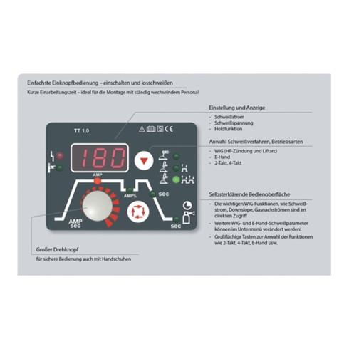 Équipement de soudage TEAMWELDER TIG 180 DC puls set d'accessoires 5 - 180 A