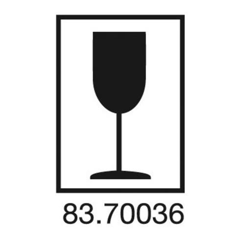 Étiquettes d'information symbole de verre L. 75 mm, l. 105 mm blanc 1000 pièces.