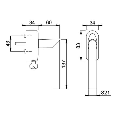 Fenstergriff Amsterdam 1400/US950 7mm Vollstift Länge 32mm Alu F1 abschließbar