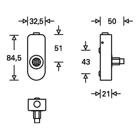 Fenstergriffadapter 34 0000 07650 Alu.F1/naturf.34mm m.Rastung FSB