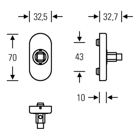 Fenstergriffadapter 34 0000 09039 Alu.F1/naturf.24-38mm m.Rastung FSB