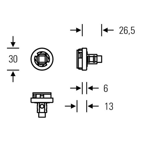 Fenstergriffadapter 34 0000 71101 VA f.matt 24-38mm m.Rastung FSB