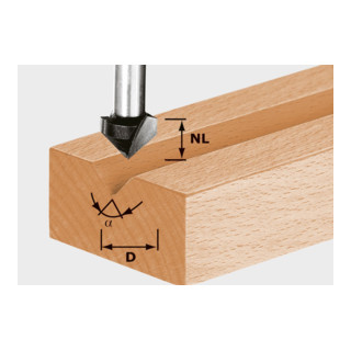 Festool V-Nutfräser HS Schaft 8 mm HS S8 D14/7/90°