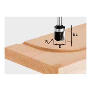 Festool Wasserrinnenfräser HW Schaft 8 mm HW S8 R6,4 KL