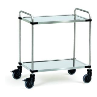 fetra Edelstahlwagen 120 kg, mit Rohrschiebebügel und 2 Böden