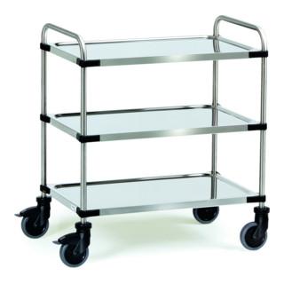 fetra Edelstahlwagen 150 kg, mit Rohrschiebebügel und 3 Böden