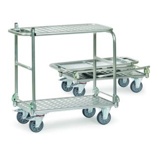 fetra Klappwagen Alu, Tragkraft 200kg, TPE-Reifen, 2 klappbare Bügel, klappbare Tischplattform