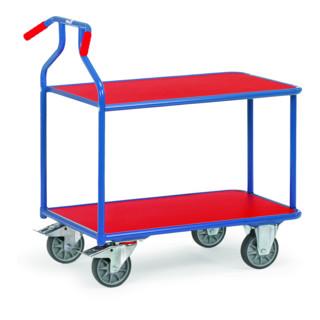 fetra Optiliner-Tischwagen 3601 blau/rot - Tragkraft 400kg TPE-Reifen