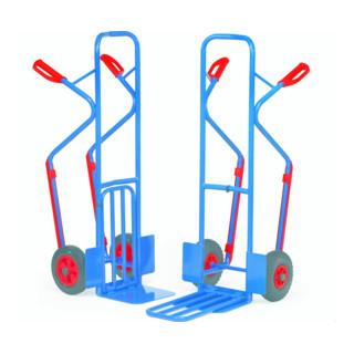 fetra Paketkarre 300 kg Tragkraft, Höhe 1300 mm, Kunststoff-Gleitkufen, Stahlblech- und Klappschaufel