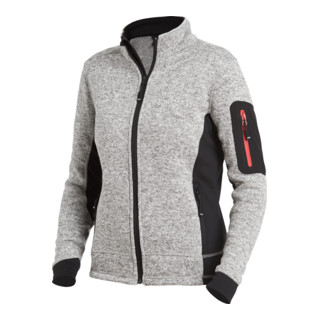 FHB MARIEKE Strick-Fleece-Jacke Damen grau-schwarz Gr. M