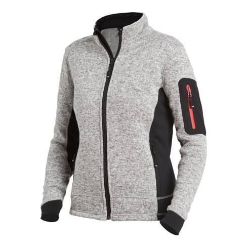 FHB MARIEKE Strick-Fleece-Jacke Damen grau-schwarz Gr. XL