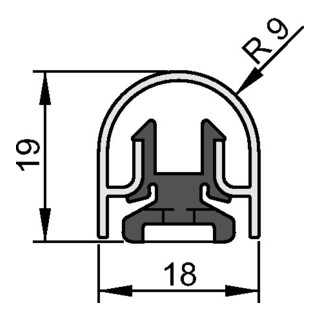 Fingerschutzprofil Bands.BU-18K L.1000mm Bands.silberf.