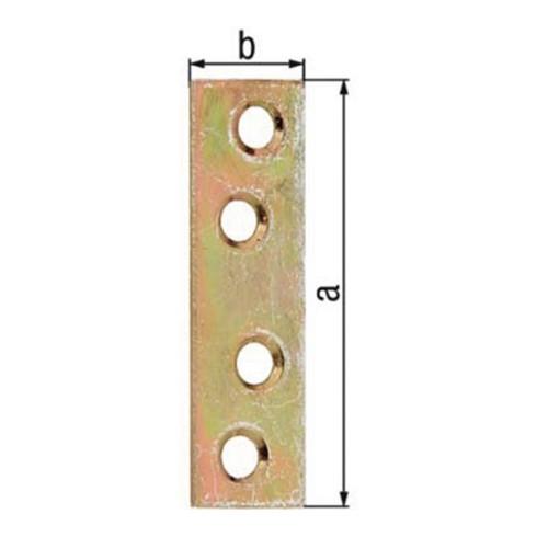 Flachverb. L.50mm B.14mm S.1,75mm STA galv. gelb verz. Anz. Löcher 4 GAH