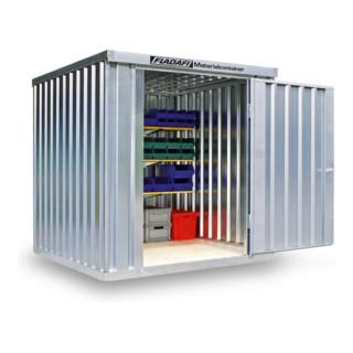 FLADAFI® Materialcontainer MC 1200 Verzinkt, montiert mit Holzfußboden
