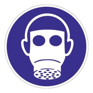 Folie Atemschutz benutzen D.200mm blau/weiß ASR A1.3 DIN EN ISO 7010
