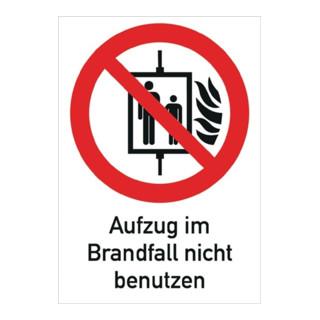 Folie Aufzug i.Brandfall nicht benutzen 185x131mm rot/weiß