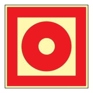 Folie Brandmelder 148x148mm rot/weiß nachleuchtend selbstklebend