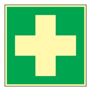 Folie Erste Hilfe 148x148mm grün/weiß nachleuchtend selbstklebend