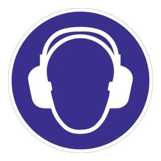 Folie Gehörschutz benutzen D.200mm blau/weiß ASR A1.3 DIN EN ISO 7010