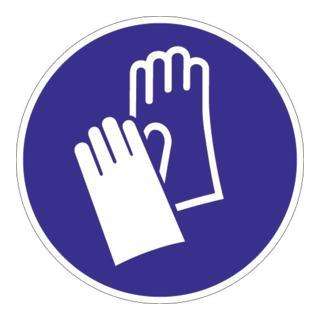 Folie Handschutz benutzen D.200mm blau/weiß ASR A1.3 DIN EN ISO 7010