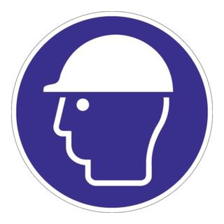Folie Kopfschutz benutzen D.200mm blau/weiß ASR A1.3 DIN EN ISO 7010