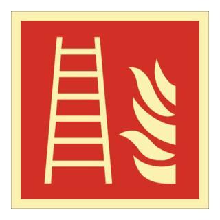 Folie Leiter 148x148mm rot/weiß ASR A1.3 DIN EN ISO 7010 nachleuchtend