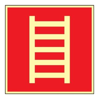 Folie Leiter 148x148mm rot/weiß nachleuchtend selbstklebend