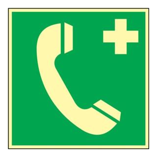 Folie Nottelefon 148x148mm grün/weiß nachleuchtend selbstklebend